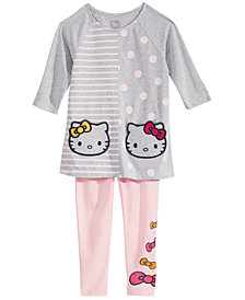 Hello Kitty Little Girls Dot-Stripe Tunic & Leggings Set
