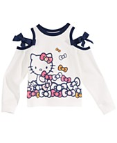 Hello Kitty Little Girls Bow Cold-Shoulder Shirt d07f9a0c839fc