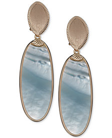Mother-of-Pearl Oval Drop Earrings in 14k Gold-Plated Sterling Silver