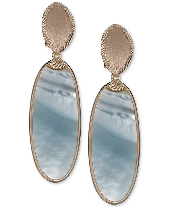 Macy's Mother-of-Pearl Oval Drop Earrings in 14k Gold-Plated Sterling Silver
