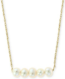 "Cultured Freshwater Pearl (3-1/2mm) Collar Necklace in 14k Gold, 16"" + 2"" extender"