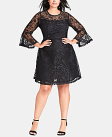 City Chic Trendy Plus Size Lace Fit & Flare Dress
