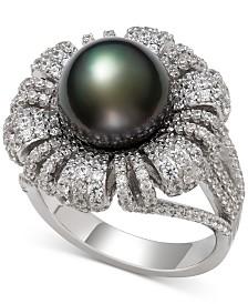 Belle de Mer Cultured Black Tahitian Pearl (9mm) & Cubic Zirconia Flower Statement Ring in Sterling Silver