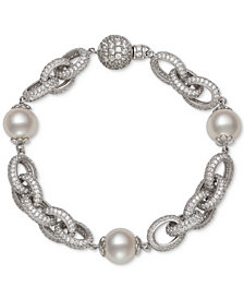 Belle de Mer Cultured Freshwater Pearl (9-1/2mm) & Cubic Zirconia Link Bracelet in Sterling Silver