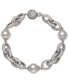 Belle de Mer Cultured Freshwater Pearl (9-1/2mm) & Cubic Zirconia Link Bracelet in Sterling Silver