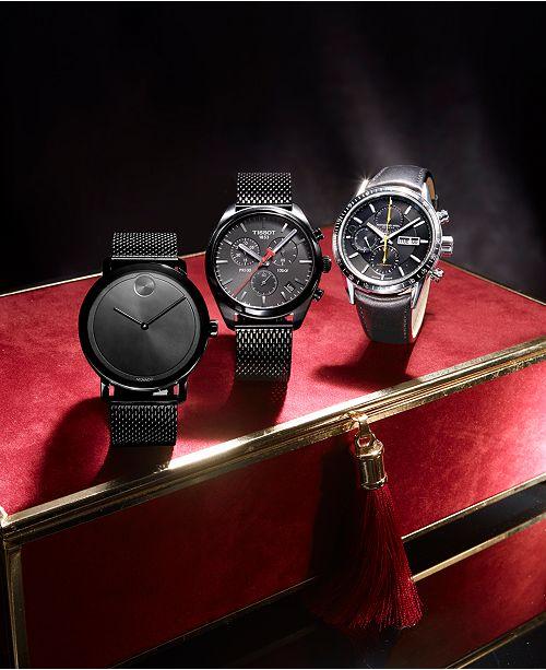 33965c4d Men's Swiss Chronograph T-Classic PR 100 Black PVD Stainless Steel Mesh  Bracelet Watch 41mm