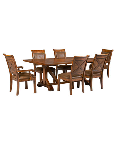Mandara 7 Pc Dining Set Trestle Table 4 Side Chairs