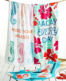 Words Beach Towel Collection, Created for Macy's