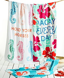 CLOSEOUT! Martha Stewart Collection Words Beach Towel Collection, Created for Macy's