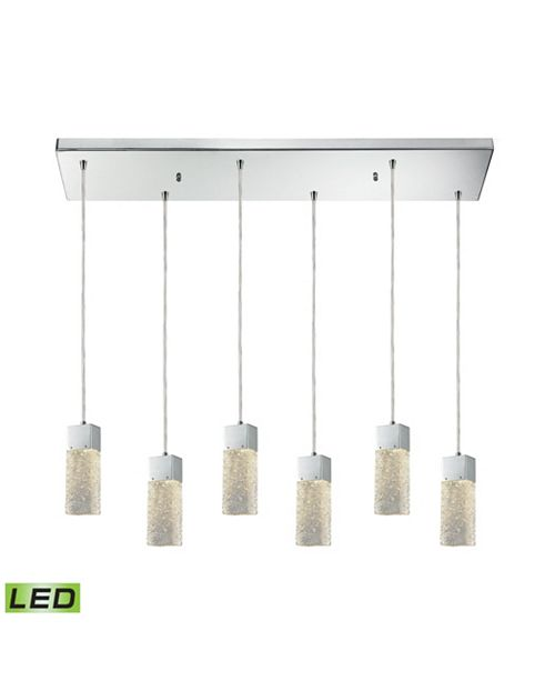 ELK Lighting Cubic Ice 6 Light Rectangle Fixture In Polished Chrome With Solid Textured Glass