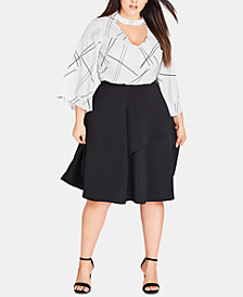 City Chic Trendy Plus Size Layered A-Line Skirt