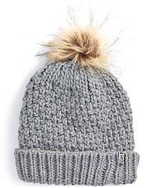 EMS® Women's Patti Chunky-Knit Faux-Fur Pom Pom Beanie