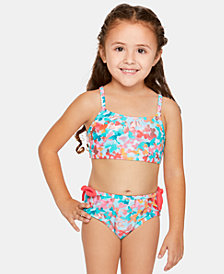 Summer Crush Little Girls Fly-Away Floral-Print Bikini