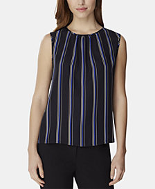 Tahari ASL Striped Sleeveless Crewneck Blouse