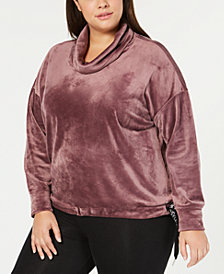 Calvin Klein Performance Plus Size Cowlneck Side-Tie Top
