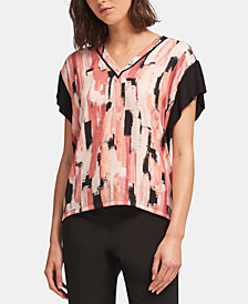 DKNY Printed Colorblocked Top, Created for Macy's