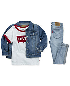 Levi's® Toddler & Little Girls Denim Jacket, Ringer Cotton T-Shirt, & Super Skinny Jeans