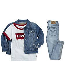 Levi's® Toddler & Little Girls Denim Jacket, Ringer Cotton T-Shirt, & Super Skinny Jeans
