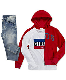 Levi's® Big Girls Hoodie, Cotton T-Shirt & Super Skinny Jeans