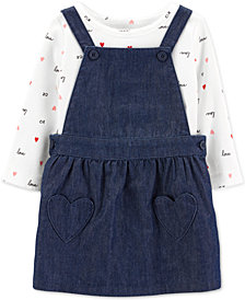 Carter's Baby Girls 2-Pc. Heart Cotton Bodysuit & Skirtall Set