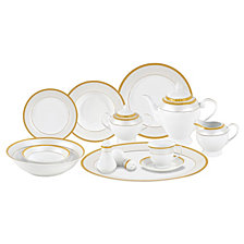 Lorren Home Trends Alina Gold 57-PC Dinnerware Set, Service for 8