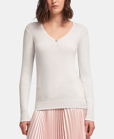 DKNY Rhinestone V-Neck Sweater, Created for Macy's