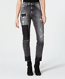 Calvin Klein Jeans Ripped Patched Straight-Leg Jeans