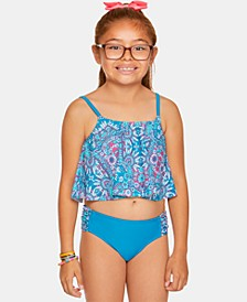 Big Girls 2-Pc. Printed Flounce Tankini