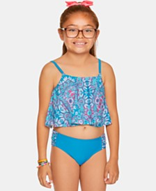 Summer Crush Big Girls 2-Pc. Printed Flounce Tankini