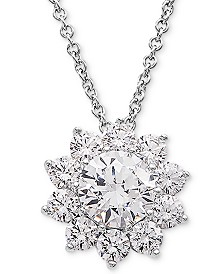 "Cubic Zirconia Flower 18"" Pendant Necklace in Sterling Silver"