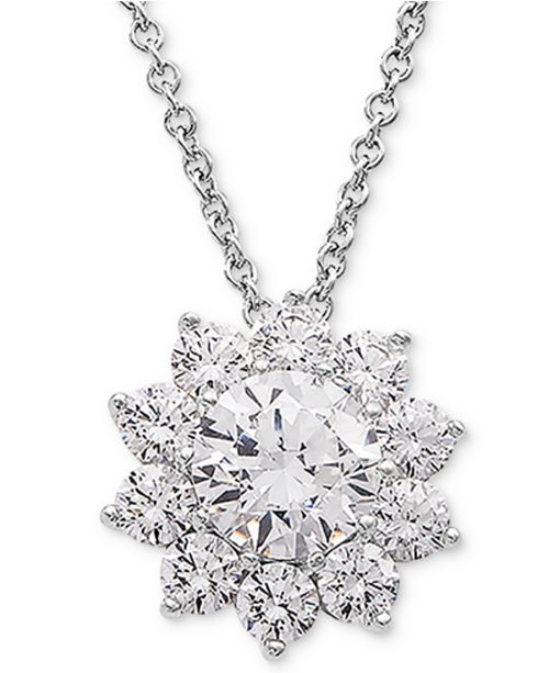 "Macy's Cubic Zirconia Flower 18"" Pendant Necklace in Sterling Silver"