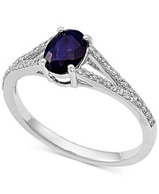 Sapphire (1 ct. t.w.) & Diamond (1/8 ct. t.w.) Ring in 10k White Gold
