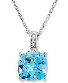 """Swiss Blue Topaz (3-3/4 ct. t.w.) & Diamond Accent 18"""" Pendant Necklace in 14k White Gold"""