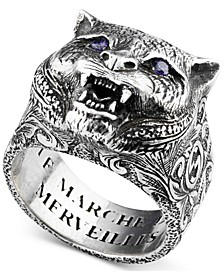 Men's Crystal Eye Feline Head Ring in Sterling Silver