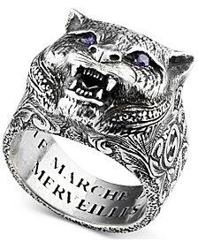 Gucci Men's Crystal Eye Feline Head Ring in Sterling Silver