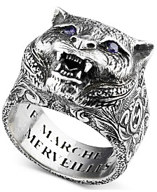 Gucci Men's Crystal Eye Feline Head Ring in Sterling Silver