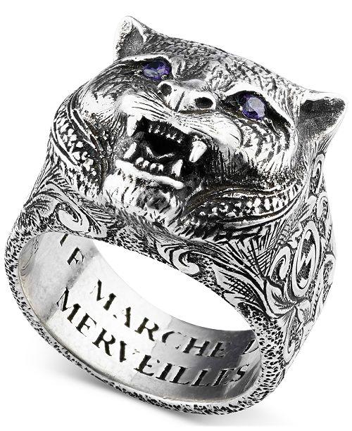 0cd885d1f Gucci Men's Crystal Eye Feline Head Ring in Sterling Silver ...