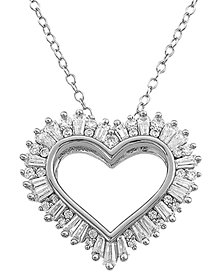 "Cubic Zircoina Baguette Heart 18"" Pendant Necklace in Sterling Silver"