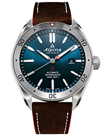Alpina Men's Swiss Automatic Alpiner 4 Brown Leather Strap Watch 44mm