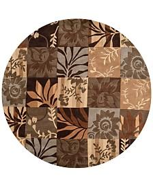 Surya Cosmopolitan COS-8817 Dark Brown 8' Round Area Rug