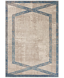 "Libby Langdon Winston Target Overlay 5816 Tan/Teal 6'6"" Round Area Rug"