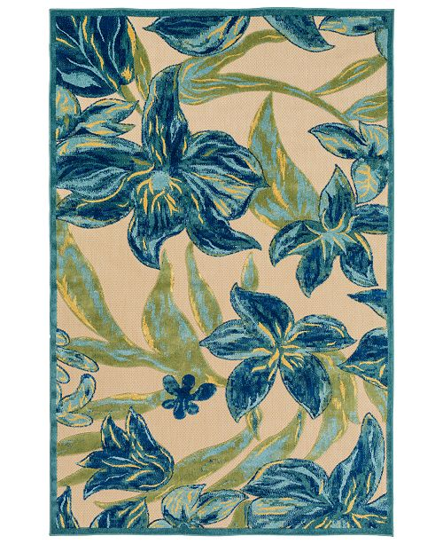 "Surya Portera PRT-1073 Teal 4'7"" x 6'7"" Area Rug, Indoor/Outdoor"