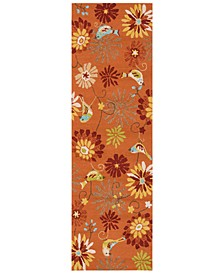 "Rain RAI-1104 Burnt Orange 2'6"" x 8' Runner Area Rug, Indoor/Outdoor"