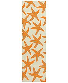 """CLOSEOUT! Rain RAI-1136 Bright Orange 2'6"""" x 8' Runner Area Rug, Indoor/Outdoor"""