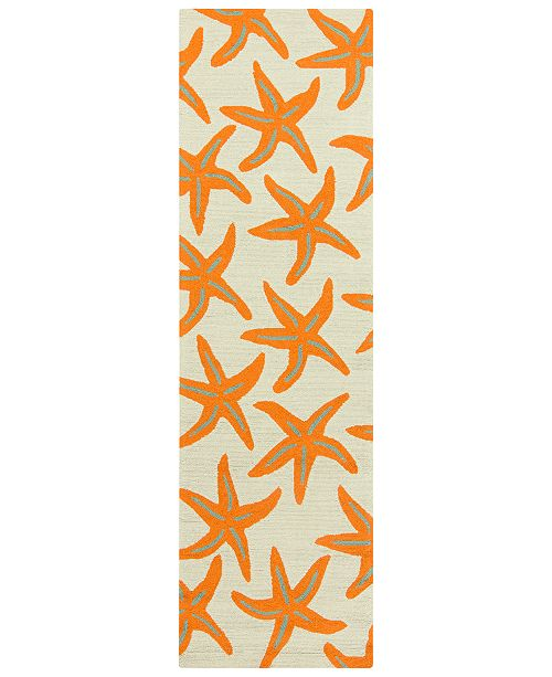 "Surya Rain RAI-1136 Bright Orange 2'6"" x 8' Runner Area Rug, Indoor/Outdoor"