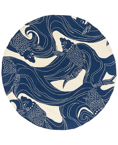 Surya Rain RAI-1238 Dark Blue 8' Round Area Rug, Indoor/Outdoor