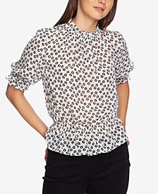 1.STATE Printed Mock-Neck Blouse
