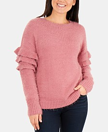 NY Collection Ruffle-Sleeve Eyelash Sweater