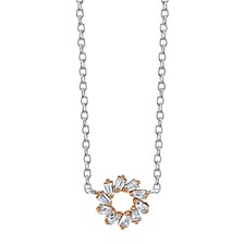 "Two-Tone Cubic Zirconia Open Circle Pendant Necklace in Sterling Silver, 16"" + 2"" Extender"