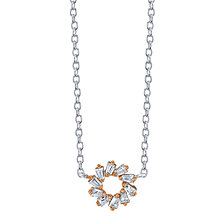 "Unwritten Two-Tone Cubic Zirconia Open Circle Pendant Necklace in Sterling Silver, 16"" + 2"" Extender"